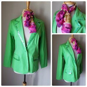 Quacker Factory Green Sequin Trimmed Blazer &Scarf